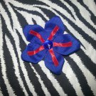 Fabric Flowers Blue Red Rhinestone 3 inch Hair Bow~Free Shipping