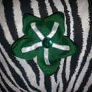 Fabric Flowers Green White Rhinestone 3 inch Hair Bow~Free Shipping