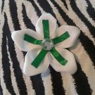 Fabric Flowers White Green Rhinestone 3 inch Hair Bow~Free Shipping