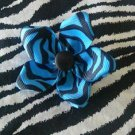 Fabric Flowers Black Blue Zebra Animal Print 3 inch Hair Bow~Free Shipping