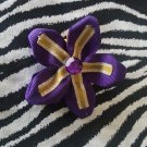 Fabric Flowers Purple Yellow Gold Rhinestone 3 inch Hair Bow~Free Shipping