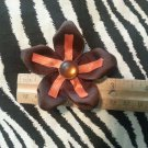 Fabric Flowers Brown Orange Rhinestone 3 inch Hair Bow~Free Shipping