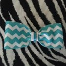 Simply Cute Chevron Teal Blue 4 x 1 inch Hair Bow Clip ~ Free Shipping