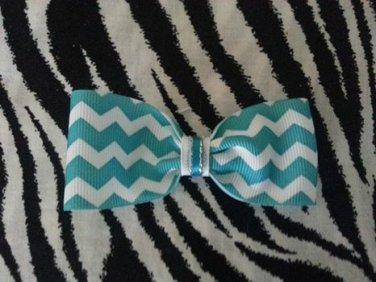 Simply Cute Chevron Teal Blue 4 x 1 inch Hair Bow Clip ~ Free Shipping
