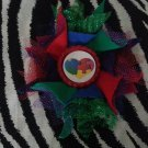 Bottlecap Flower Autism Awareness Puzzle Heart Hair Bow ~ Free Shipping