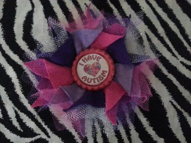 Bottlecap Flower Autism Awareness Pink Purple Hair Bow ~ Free Shipping