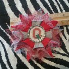 Sporty Bottlecap Tulle Flower NCAA Ohio State Buckeyes O Hair Bow ~ Free Shipping