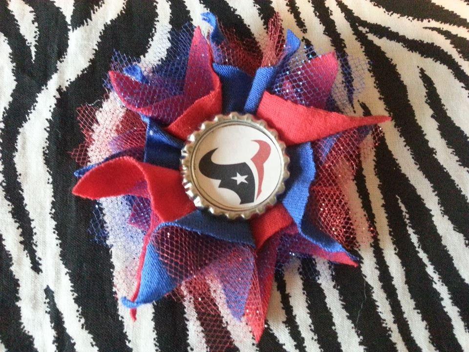 Sporty Bottlecap Tulle Flower NFL Football Houston Texans Hair Bow ~ Free Shipping