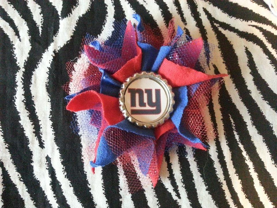 Sporty Bottlecap Tulle Flower NFL Football New York Giants Logo Hair Bow ~ Free Shipping