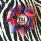 Sporty Bottlecap Tulle Flower NFL Football New York Giants Logo Hair Bow ~ Free Shipping