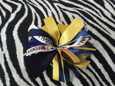 Cheer-riffic Pom Pom I Love Football Navy Blue Yellow Gold Hair Bow Clip ~Free Shipping