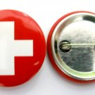 Switzerland National Country Flag Button Badge Lapel Pin Tin Plate 30 mm Diameter