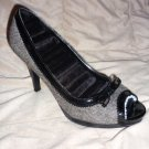 Grey w/Black Patent Leather Trim Stiletto Heel