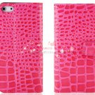Crocodile Skin Pattern PU Leather Flip Protective Case for iPhone 5 (Pink)
