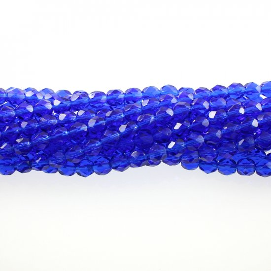 4mm Round Faceted Czech Glass Beads - Dark Aqua