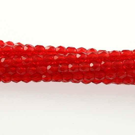 4mm Round Faceted Czech Glass Beads - Dark Orange