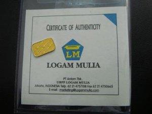 Gold Bullion Bar 1gr 99.99%  with certificate
