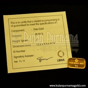 Gold Bullion Bar 2 gr 99.99%  with certificate