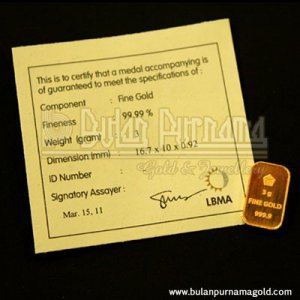 Gold Bullion Bar 3 gr 99.99%  with certificate