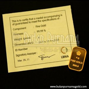 Gold Bullion Bar 4 gr 99.99%  with certificate