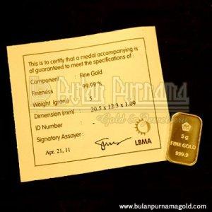 Gold Bullion Bar 5 gr 99.99%  with certificate