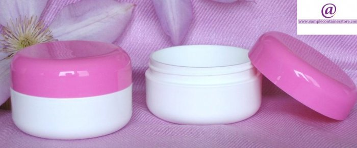 LAST of STOCK (15) 2 oz White Double Wall Round base Jar with Pink Domed Lid
