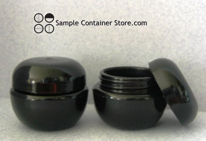 (100)  Black 3 gram Plastic Cosmetic jar