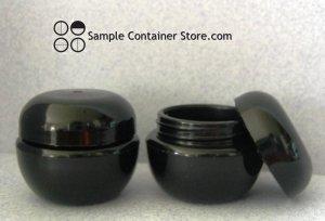 (100)  Black 3 gram Plastic Cosmetic jar