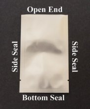 "(50) Small Silver Aluminum Sample Pouches (2"" x 4.5"")  - Heat Sealable w/ Transfer Pipette"