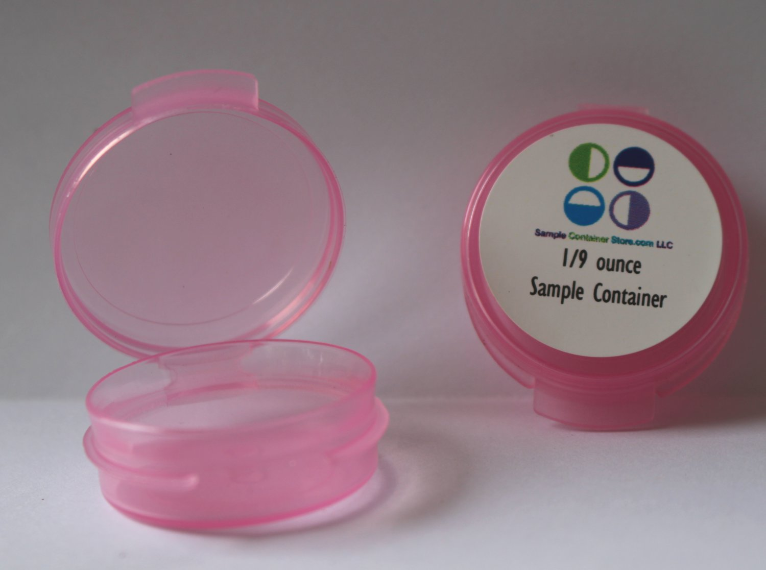 (150) 1/9 Ounce Sample Container Pink Hinged Lid