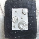 Black and white, modern relief, silver flowers