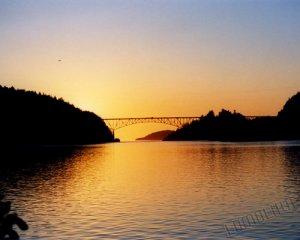 Near Sunset - Deception Pass Bridge, WA - 8x10 - Original Fine Art Photograph - Free Shipping
