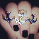 ONLY 50 CENTS!!! anchor sparrow double finger ring