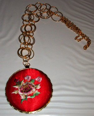 Red Padded Flower Pendant