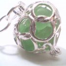 Genuine Rare Green Beach Sea Glass Filigree Heart Locket with Handmade Necklace