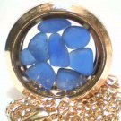 Genuine Colbalt Blue Beach Sea Glass Round Gold Float Locket With Chain