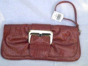 Faux Patent Leather Red Croc Clutch Purse Handbag