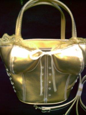 Gold Leatherette BUSTIER~ Purse Evening Handbag w/ Det. Shoulder Strap by Far Nine