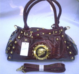 Large Red/Black Faux Leather/Croc Handbag w/ Det. Shoulder Strap