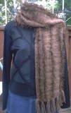 Handmade Brown Fun Fur Accent Crochet  FASHIONABLE SCARF