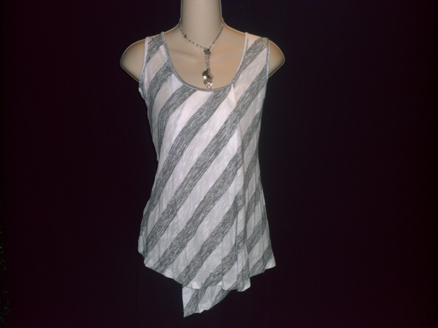 NORDSTROM BOBEAU Striped Long Tank Tunic Top Size Small S