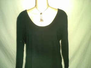 MERONA Women�s Black Long Sleeve Ribbed Top Size XL