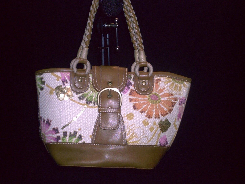 NINE WEST Colorful Floral Print Woven Fiber Canvas Tote Purse HandBag Bag
