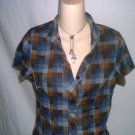 Plaid Elastic Back Button Down Collar Shirt Size Medium M