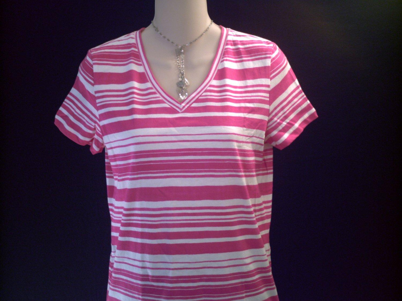 LIZ CLAIBORNE V-Neck Pink Stripe Top Size PS