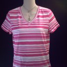 LIZ CLAIBORNE V-Neck Pink Stripe Top Size PS