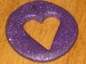 "18"" Purple Glitter Heart Cut Out Of Circle"