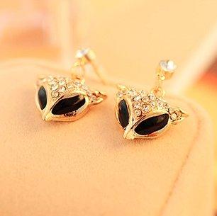 Korean version of the full retro diamond pendant diamond stud earrings alloy fox head