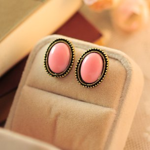 Phnom Penh retro round crystal gemstone earrings pink