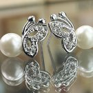 Butterfly pearl diamond earrings